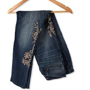 WHBM Jeans Embellished The Slim Skinny Mid 10 L